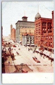 Omaha NE~Horse & Wagon~Balduff~Bank~Clocktower~Tailor Dresher~Berger's~c1910