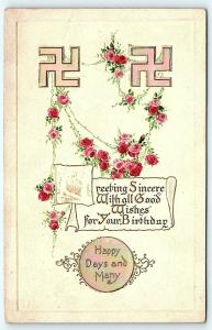 Postcard 1914 Birthday Greetings Double Swastika Opalescent Mother of Pearl R01