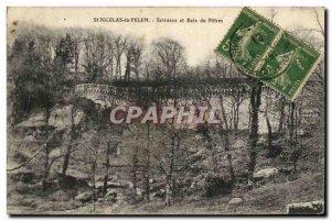 Old Postcard St Nicolas du Pelem Terrace and Wood Pelem