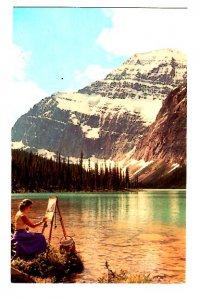 Women Artist Painting, Mount Edith Cavell,, Jasper Park, Alberta