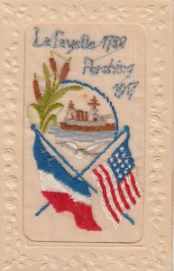 Embroidered 1914-18 ; French & USA flags