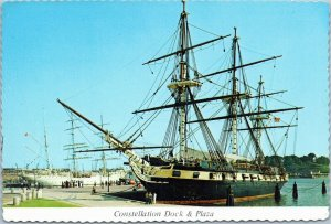 postcard Baltimore - Frigate Constellation - Dock and Plaza