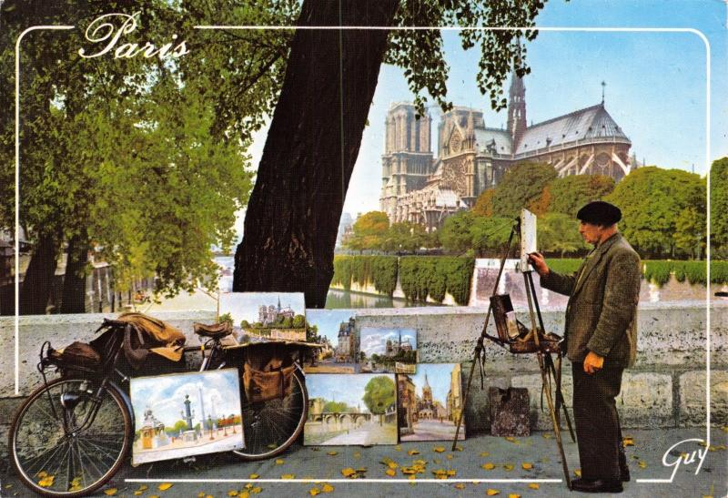 Paris France  Postcard, Notre Dame Cathedral and Street Artist 33F
