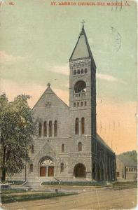 Des Moines Iowa~St Ambrose Church~Bell Tower 1913 Postcard