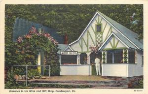 Coudersport PA Ticket Booth @ Entrance to the Ice Mine & Gift Shop~1939 Postcard