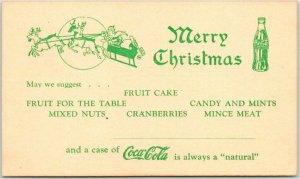 Vintage COCA-COLA Coke Advertising Postcard Merry Christmas Santa Claus c1940s