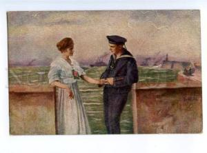 177457 Lovers near Military Ship SAILOR by NICOLSEN Vintage PC
