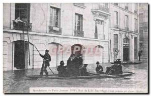 Old Postcard Paris Floods in January 1910 Flood of the Seine Rue de Lille Res...