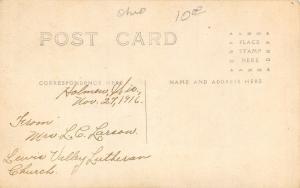 Holmen Wisconsin ~Lewis Valley Lutheran Church~Real Photo Postcard RPPC 1916