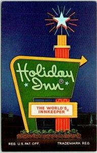 BRUNSWICK, Georgia Postcard HOLIDAY INN MOTEL Sign Logo Hwy 17 Roadside c1960s