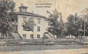 G49/ Pentwater Michigan Postcard 1908 Union School Building