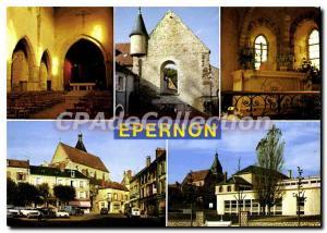 Postcard Modern church prior Epernon center