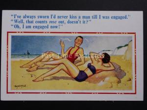 Donald McGill: Two Women on Beach NEVER KISS A MAN TILL I WAS ENGAGED No.2237