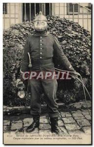 Old Postcard Paris Fire Brigade helmet for respiratory unbreathable environme...