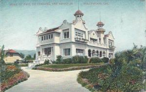 Home of Paul De Longpre, Hollywood, California, Early Postcard, unused