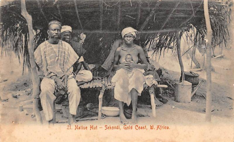 Ghana Gold Coast Sekondi native hut family postcard