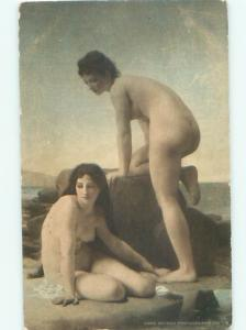 Pre-Linen Risque PAIR OF NUDE WOMEN AT THE BEACH AB6076