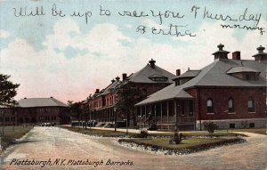 Plattsburgh Army Barracks, Plattsburgh, New York, Early Postcard, Used in1907