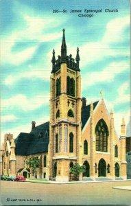 Chicago Il , St James Épiscopal Église, Vitrail, Lin Illinois Carte Postale