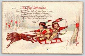 Valentine~Native Americana~Wolfhound Red Sled~Indian Girl & Brave~Stecher 921 B