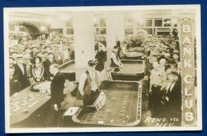 Reno Nevada BANK CLUB Casino Interior gambling hall view real photo postcard