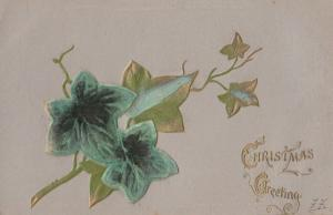 RAISED almost 3D Leaf ANTIQUE REAL FELT LEAF Christmas Greetings Postcard