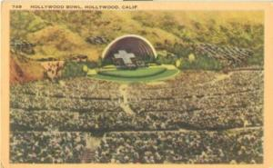 Hollywood Bowl, Hollywood, California, unused linen Postcard