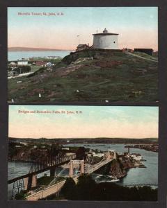 NB Lot 2 St Saint John New Brunswick Postcards Carte Postale Canada Tower Bridge