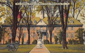 Wren Building, William & Mary College, Williamsburg, VA, Early Postcard, Unused