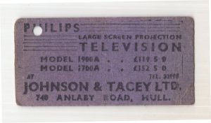 Hull Philips Dealer Television Shop Advertising Old Bus Ticket