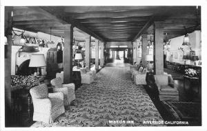 1950s Lounge Interior Mission Inn Riverside California RPPC real photo 10672
