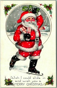 Vintage WHITNEY Christmas Postcard SANTA CLAUS on ICE SKATES! w/ Presents c1920s