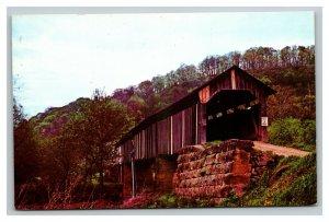 Vintage 1950's Postcard Long Covered Bridge Monroe County Ohio Vacationlands