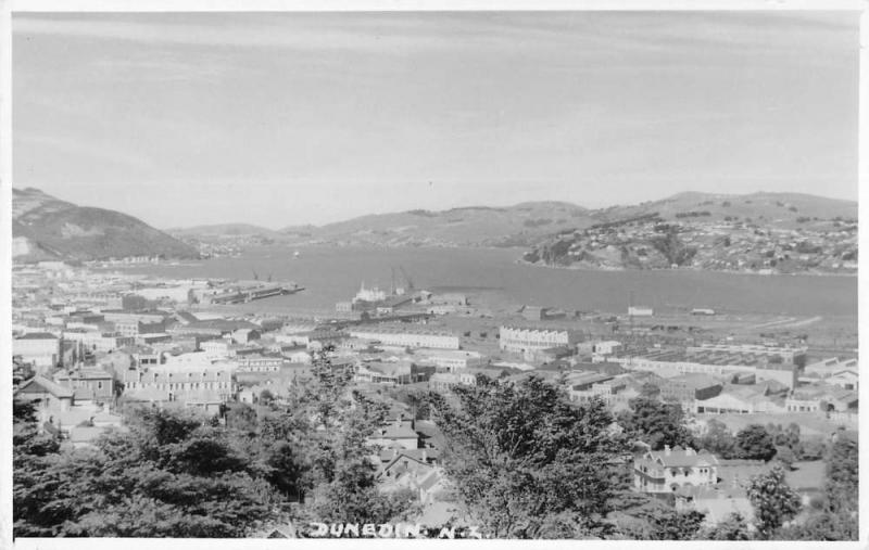 Dunedin Otago New Zealand aerial view of area real photo pc Y14800