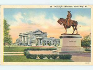 Linen PRESIDENT GEORGE WASHINGTON MONUMENT BY BUILDING Kansas City MO Q9952