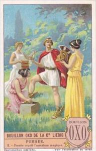 Liebig Vintage Trade Card S1199 Perseus 1927 No 2 Persee recoit l'armature ma...
