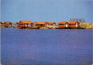 Sjobodar Hubbebostrand Bohuslan Sweden Boat Houses Unused Postcard C4