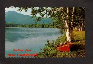 NH Greetings From New Hampshire Canoe Pond Birch trees Postcard
