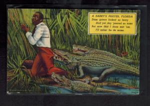 1959 Postcard Cover Black Americana Darky Prayer Tampa FLorida Alligators