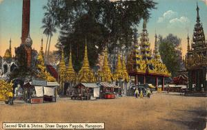 Burma Myanmar Sacred Well and Shrine Shwe Dagon Pagoda Rangoon Postcard