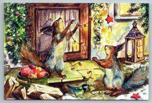 SQUIRRELS Christmas Decoration Apple Lamp Door Bird Holiday Russian New Postcard