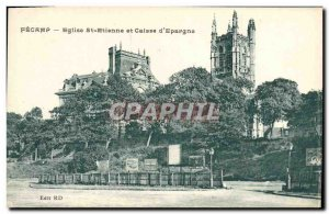 Old Postcard Church St Etienne Fecamp Bank and Caisse d & # 39Epargne
