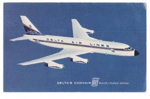 Delta Air Lines Convair 880 Vintage Postcard