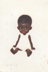 Black Magic Coloured Baby Vintage Postcard