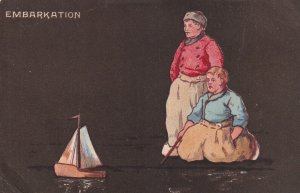 EMBARKATION, PU-1905; Dutch Boys watching a toy sail boat; TUCK #6711