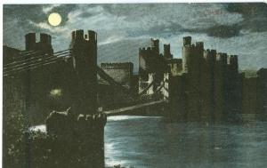 Conway Castle at night, early 1900s Valentine's Moonlight