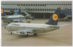 Lufthansa Airlines Boeing 737-230 Near Terminal Aircraft Aviation Postcard