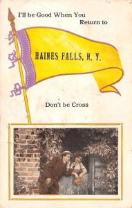 Don't Be Cross in Haines Falls New York~I'll be Good~1914 Pennant Postcard