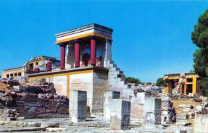 Official Greece Olympic Airways Postcard CRETE Minoan Palace of Knossos D5