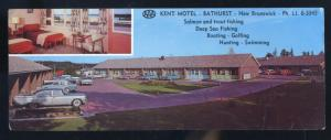 BATHURST ONTARO CANADA KENT MOTEL INTERIOR 1950's CARS ADVERTISING POSTCARD